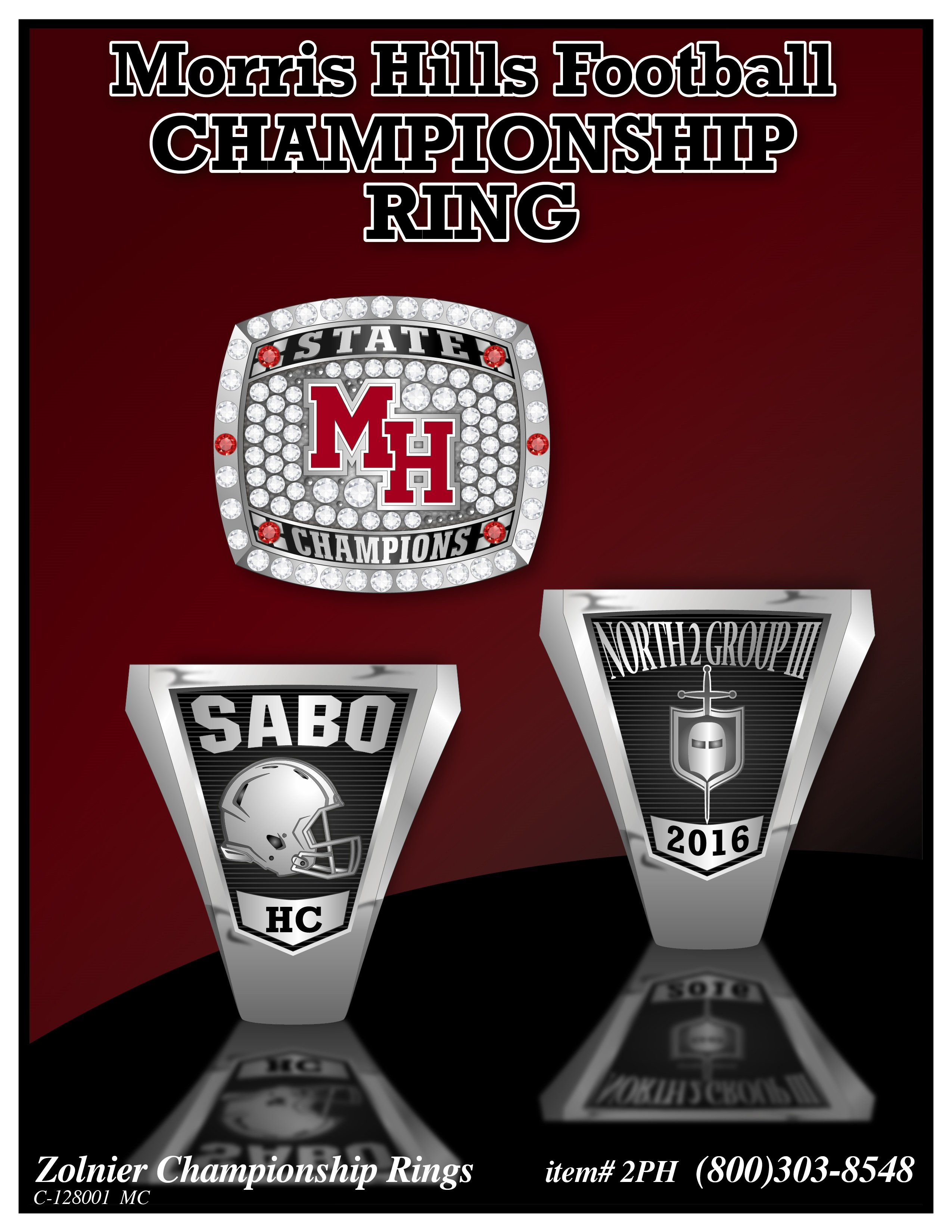 C-128001 ZOLNIER LLT Morris Hills Football Championship Ring MC-01 (1)