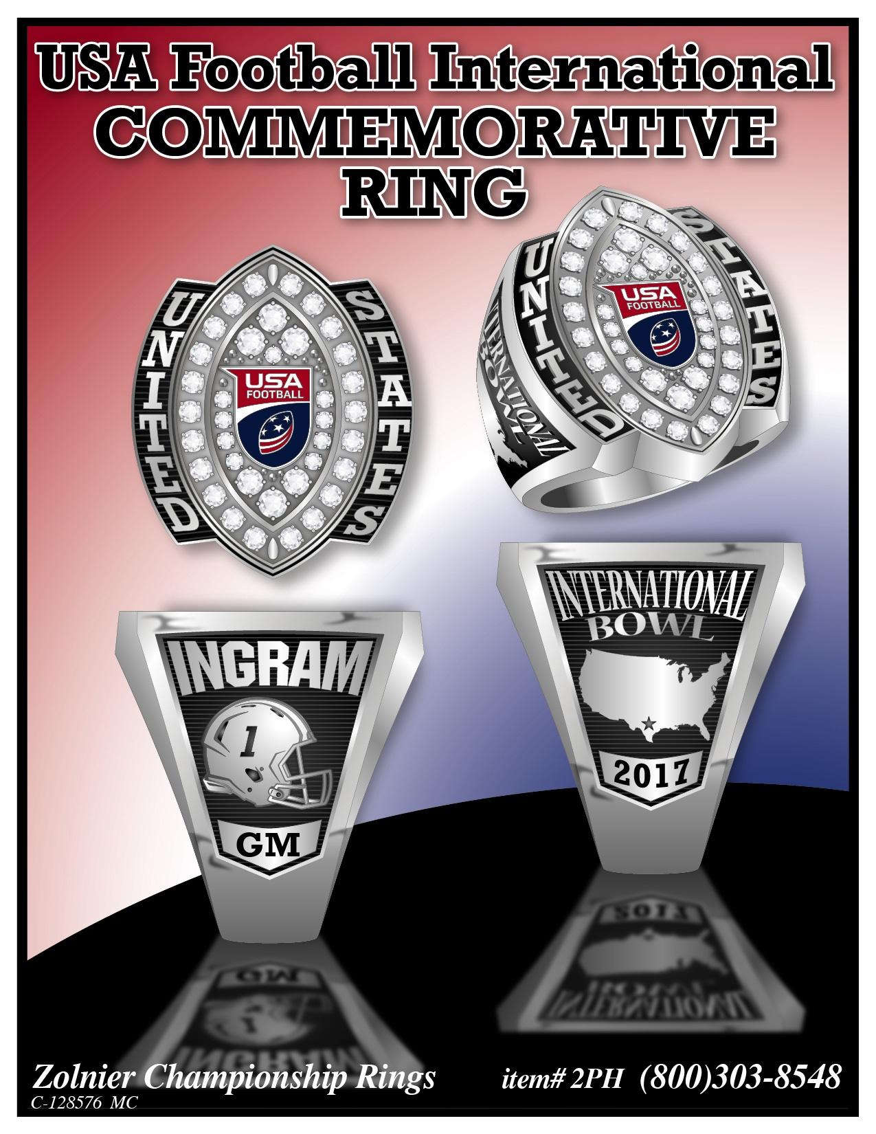 C-128576 USA Football International Commemorative Ring