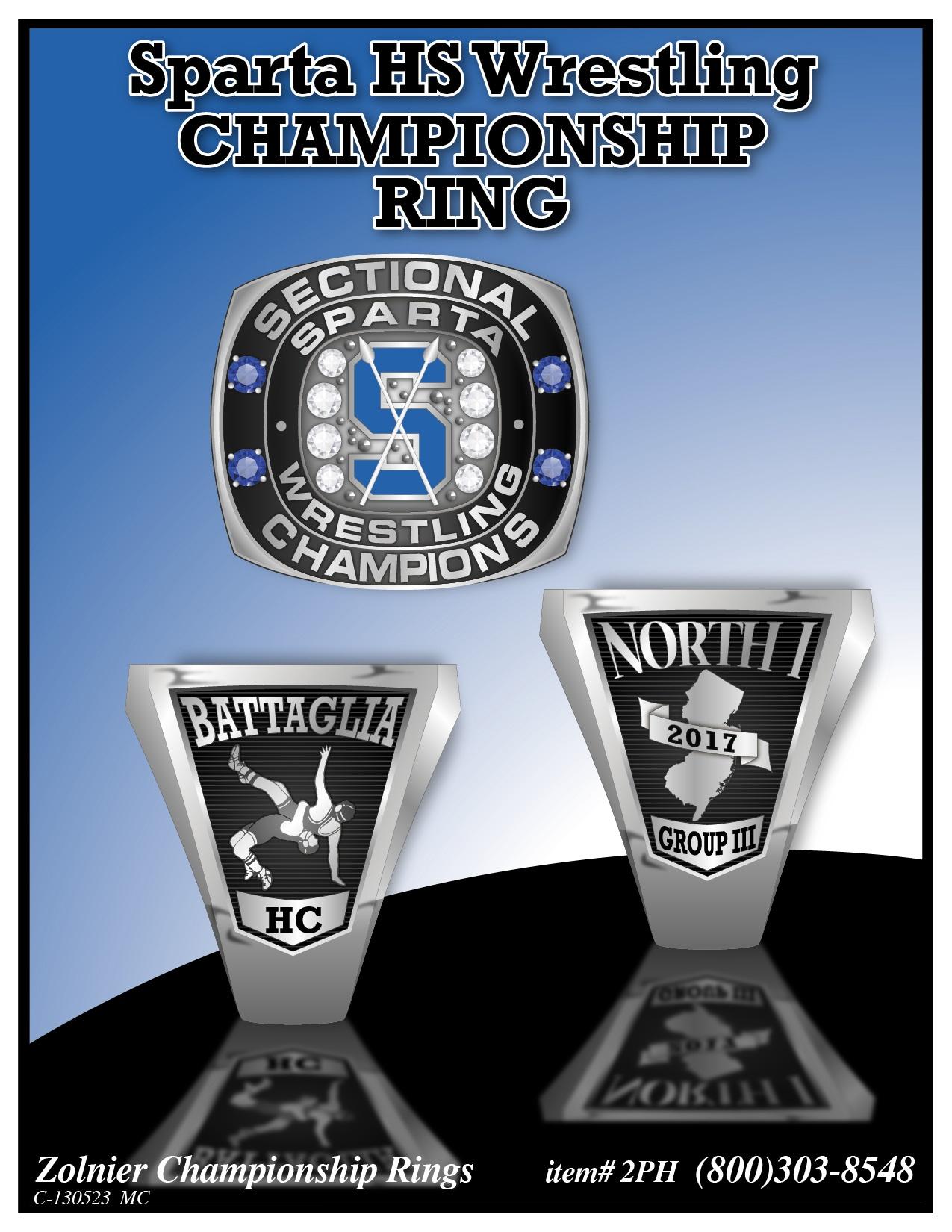 C-130523 Sparta HS Wrestling Championship Ring
