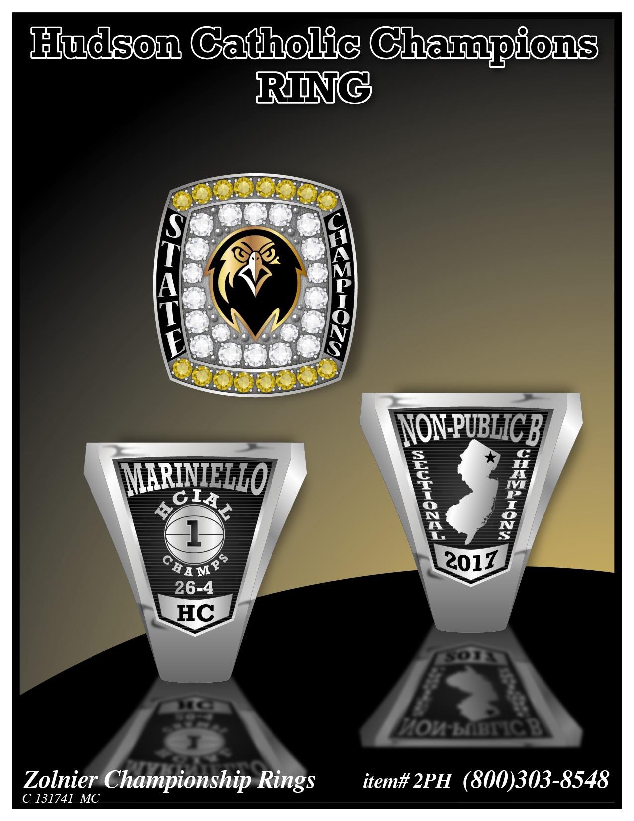 C-131741 Hudson Catholic Basketball Championship Ring