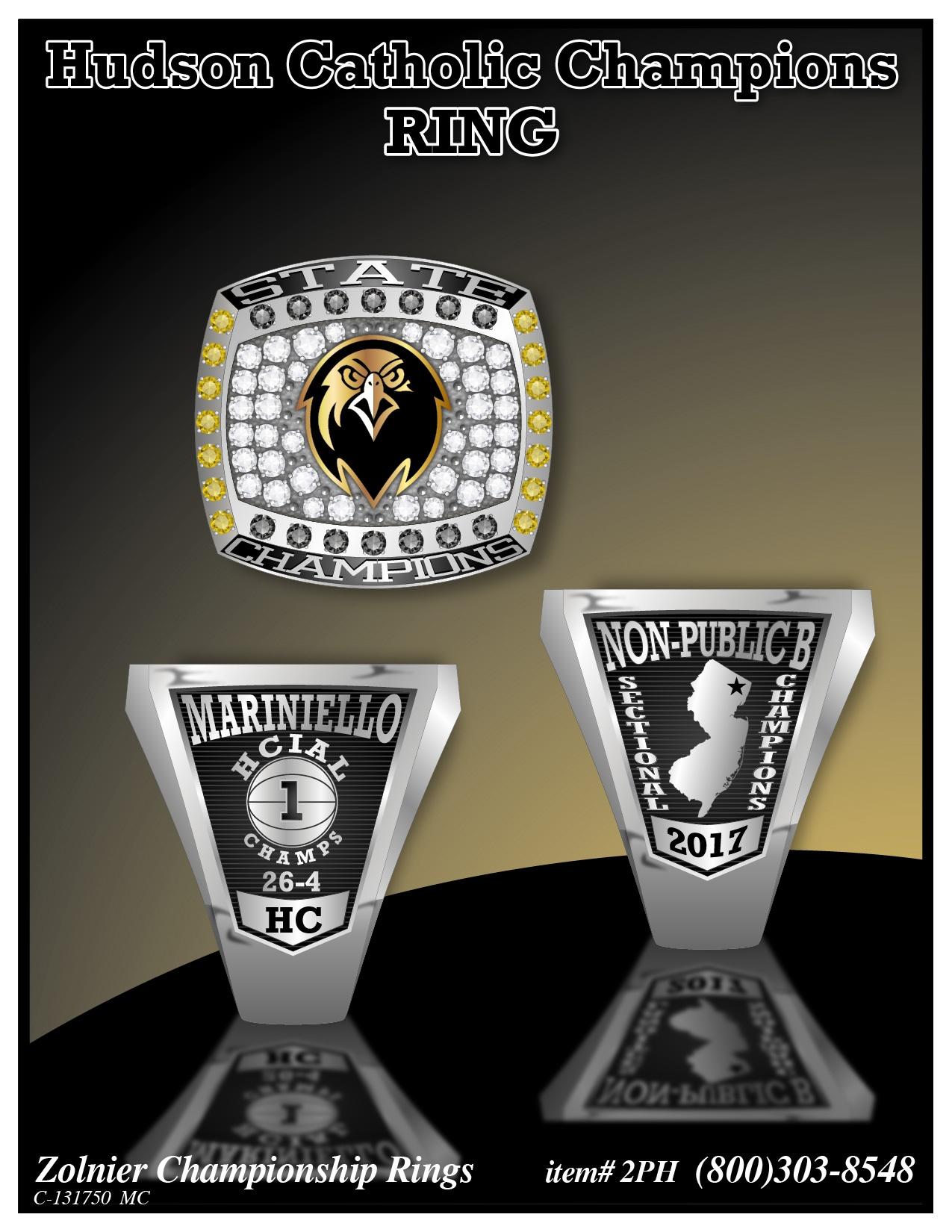 C-131750 Hudson Catholic Basketball Championship Ring 2