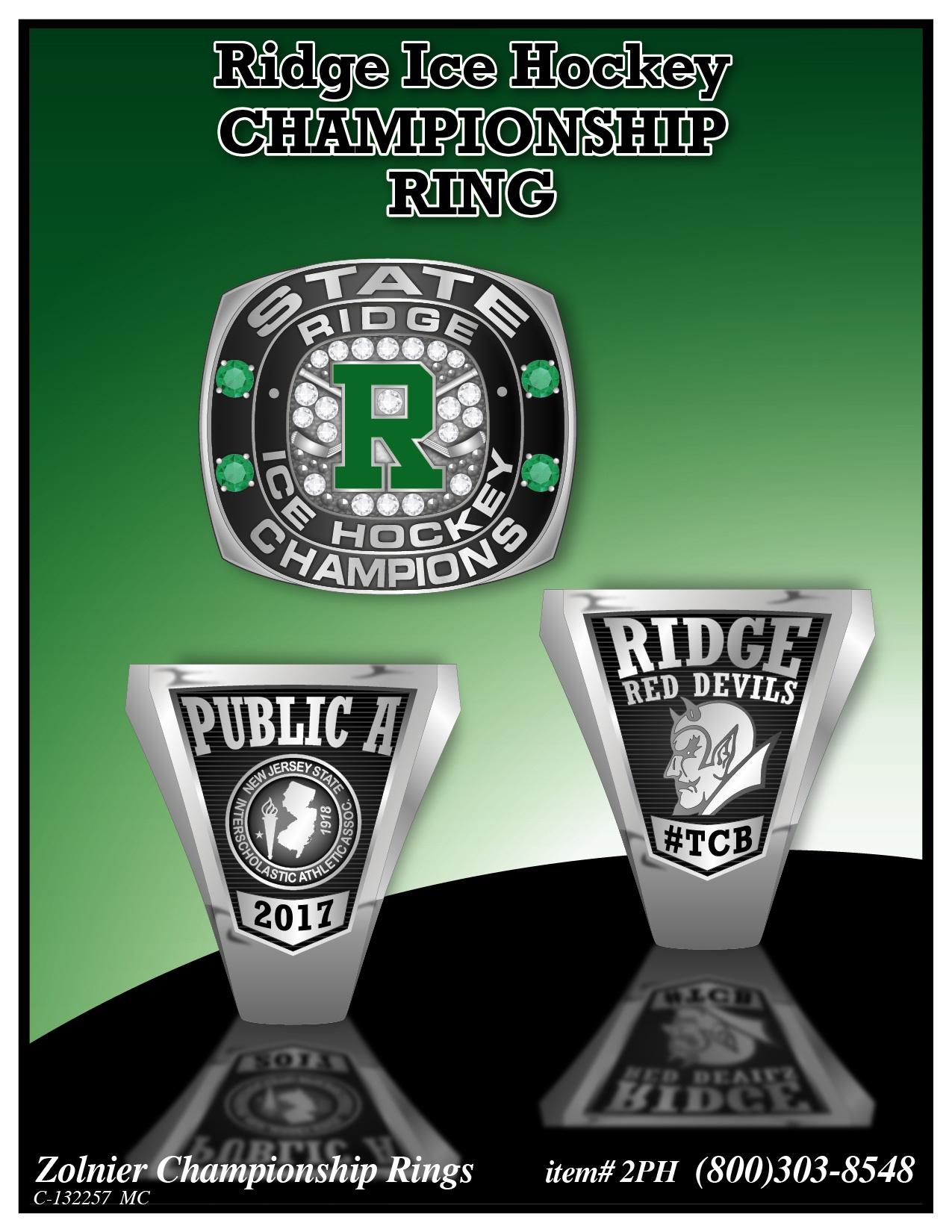 C-132257 Ridge Ice Hockey Championship Ring