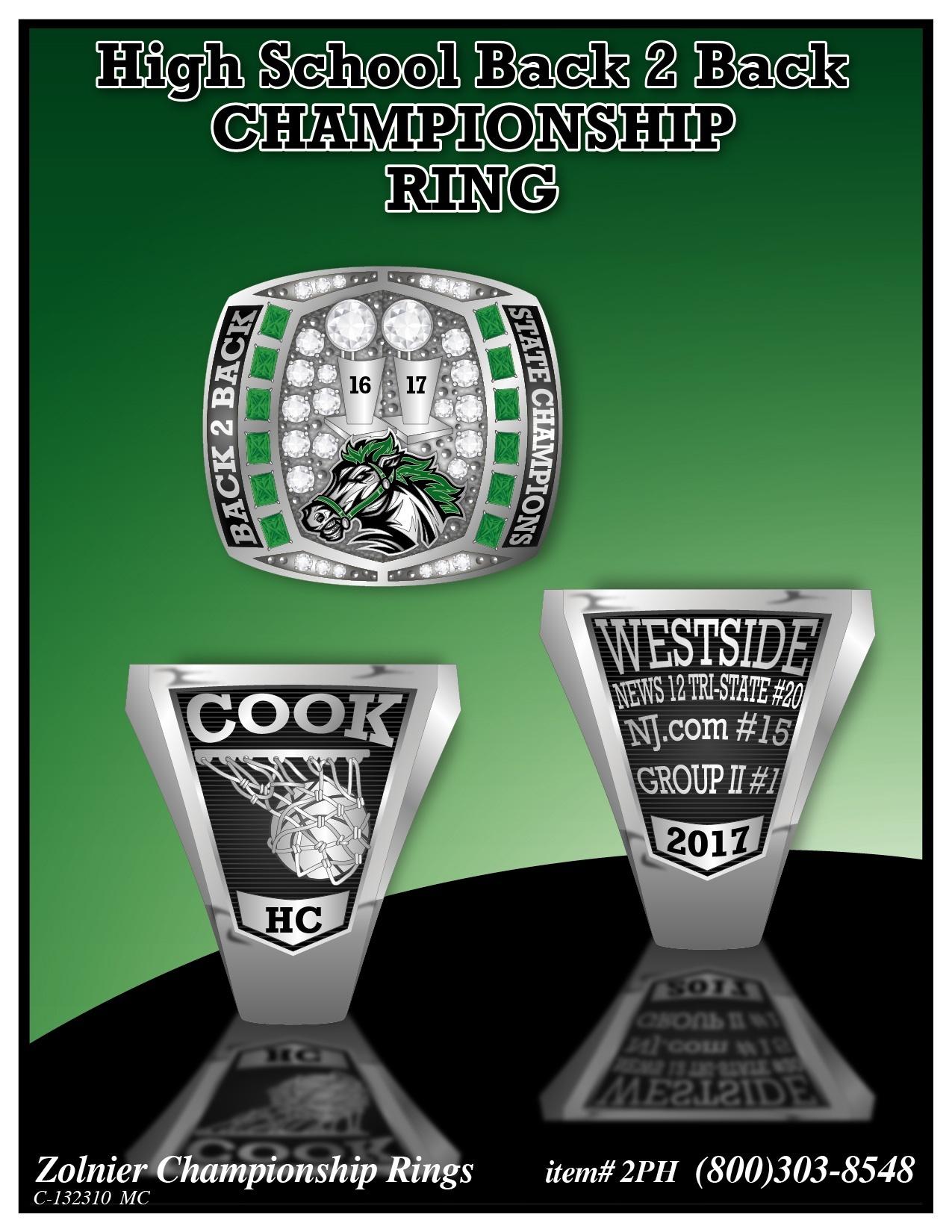 C-132310 Westside High School Back 2 Back Championship Ring