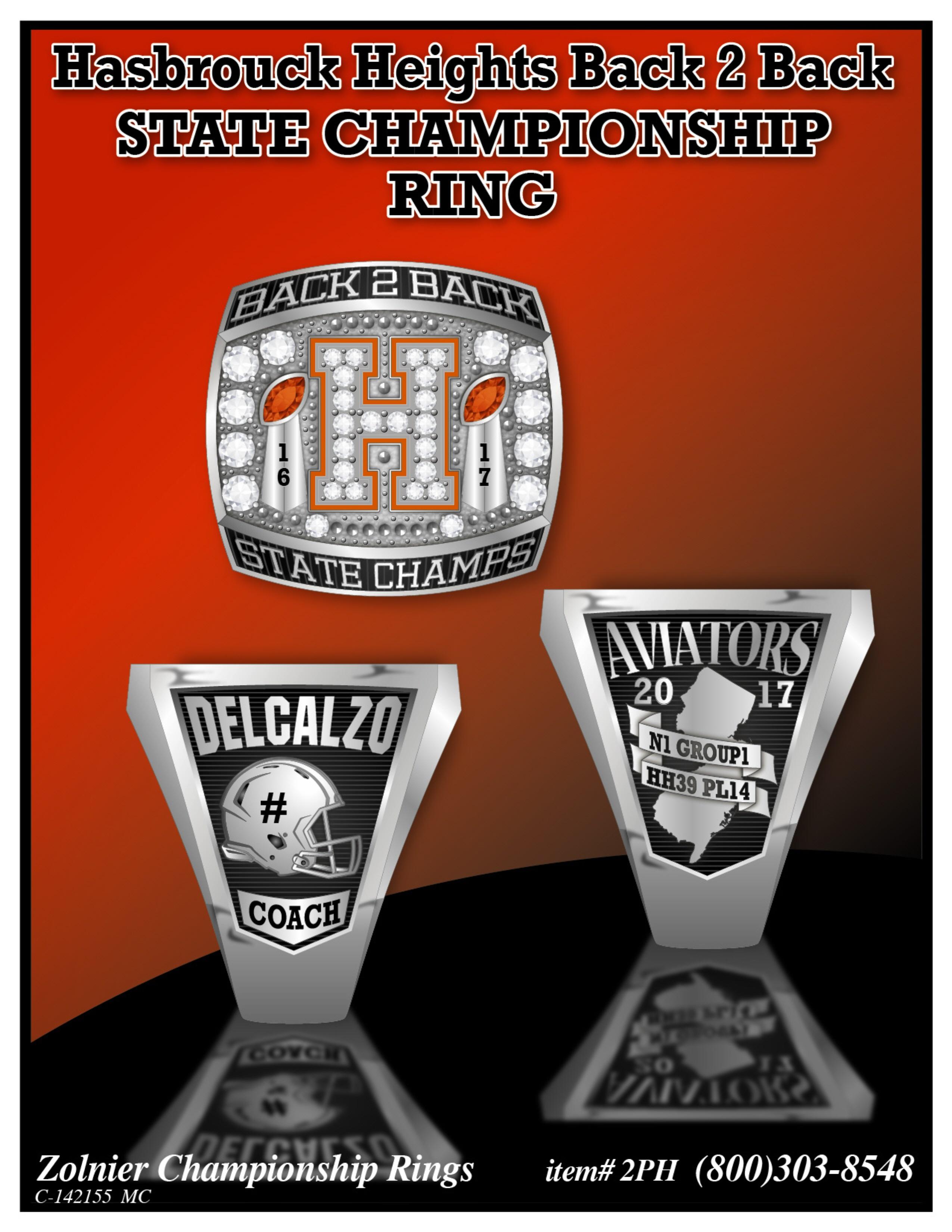 C-142155 Hasbrouck Heights Football Championship Ring
