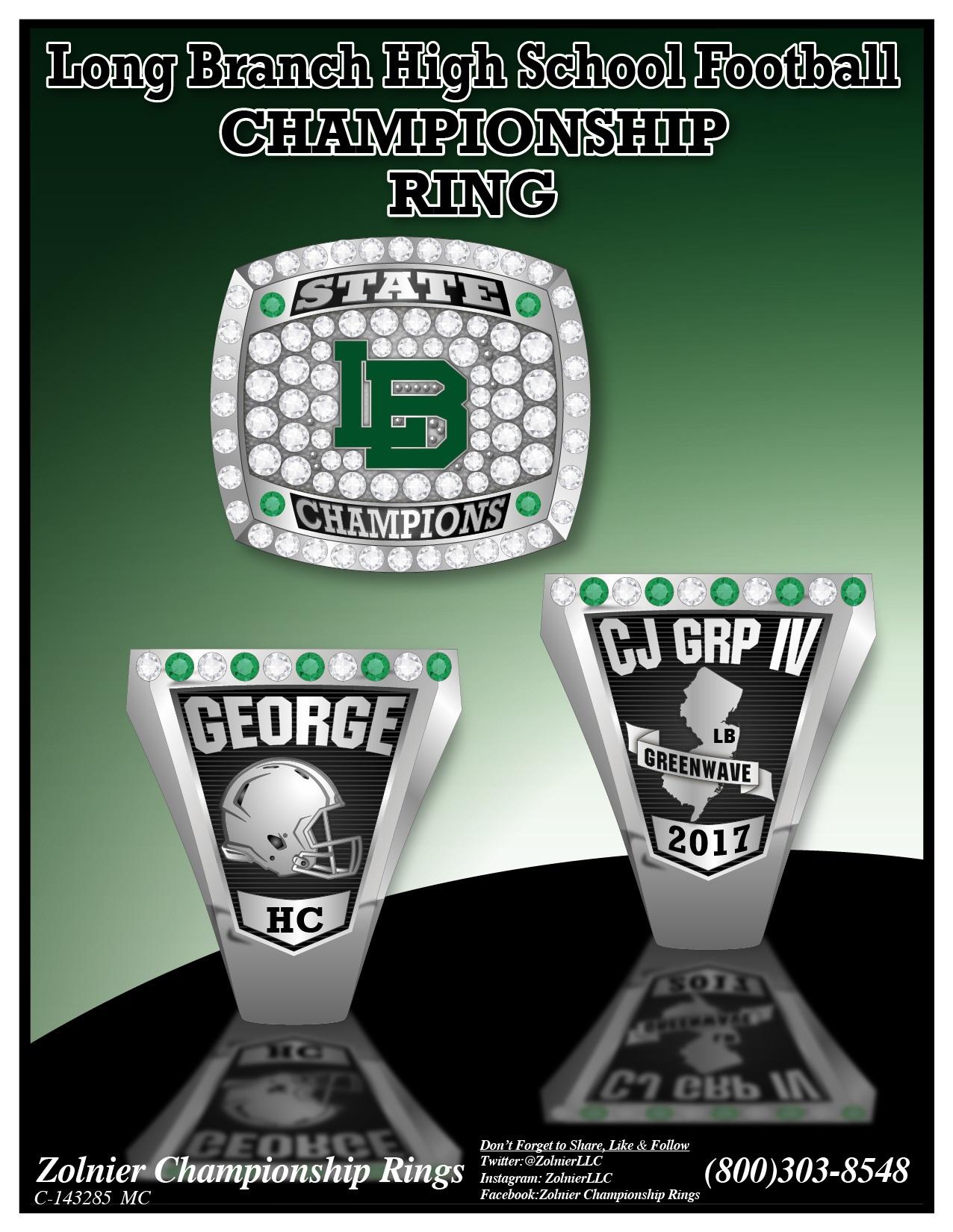 C-142171 Long Branch Football Championship Ring