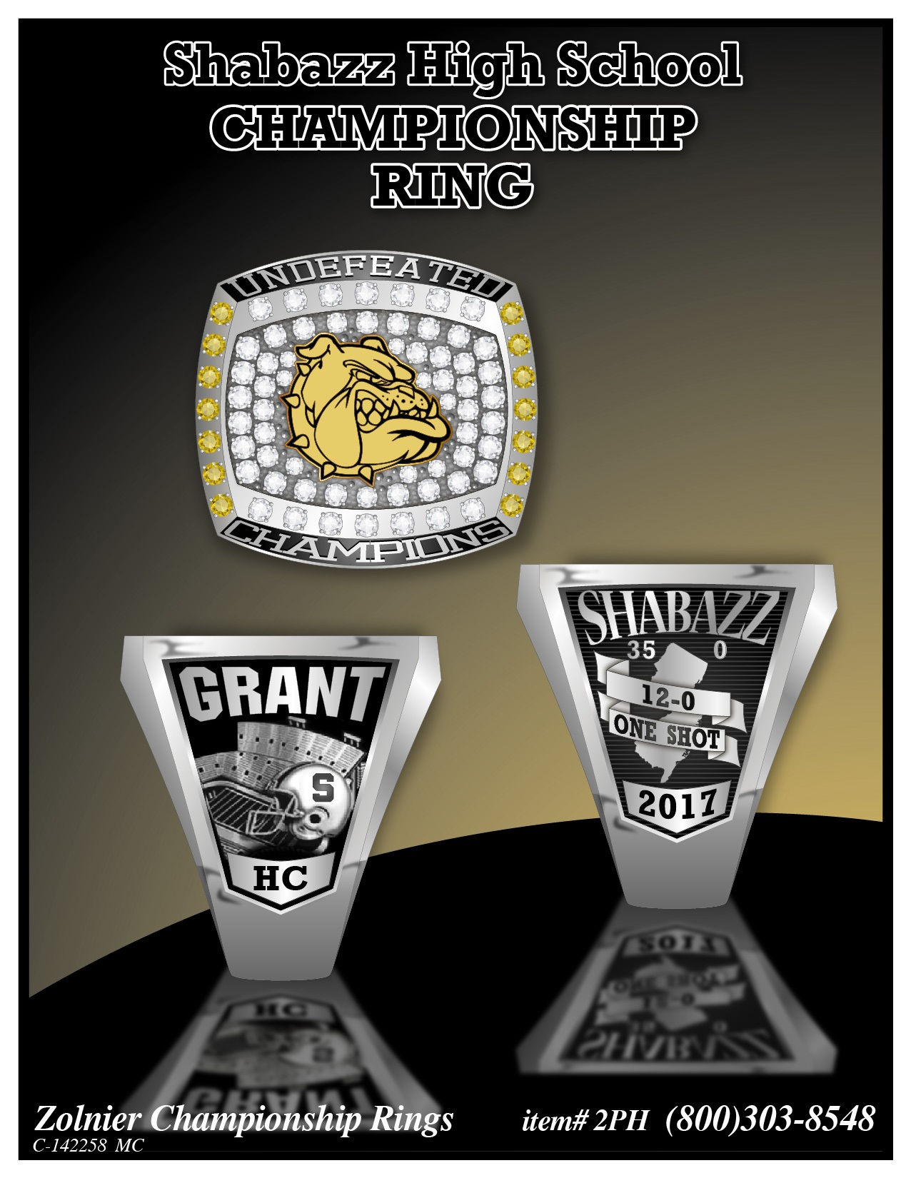 C-142258 Shabazz HS Champ Ring Players Ring