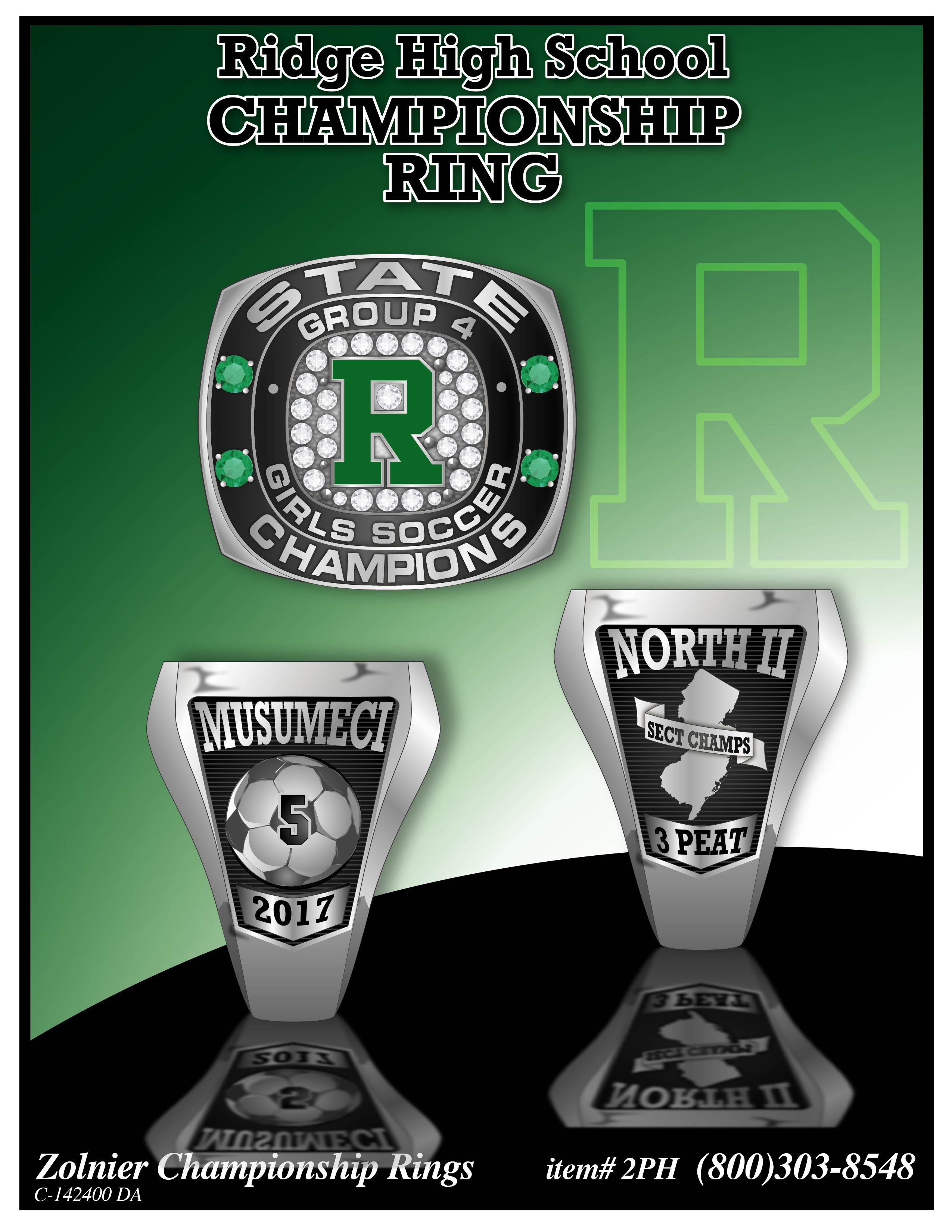 C-142400 Ridge HD Girls Soccer Champ Ring