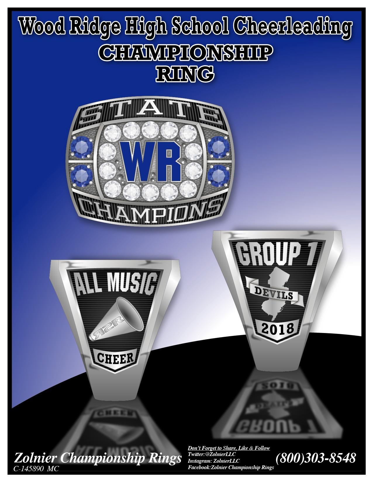 C-145890 Woodridge HS Cheer Champ Ring