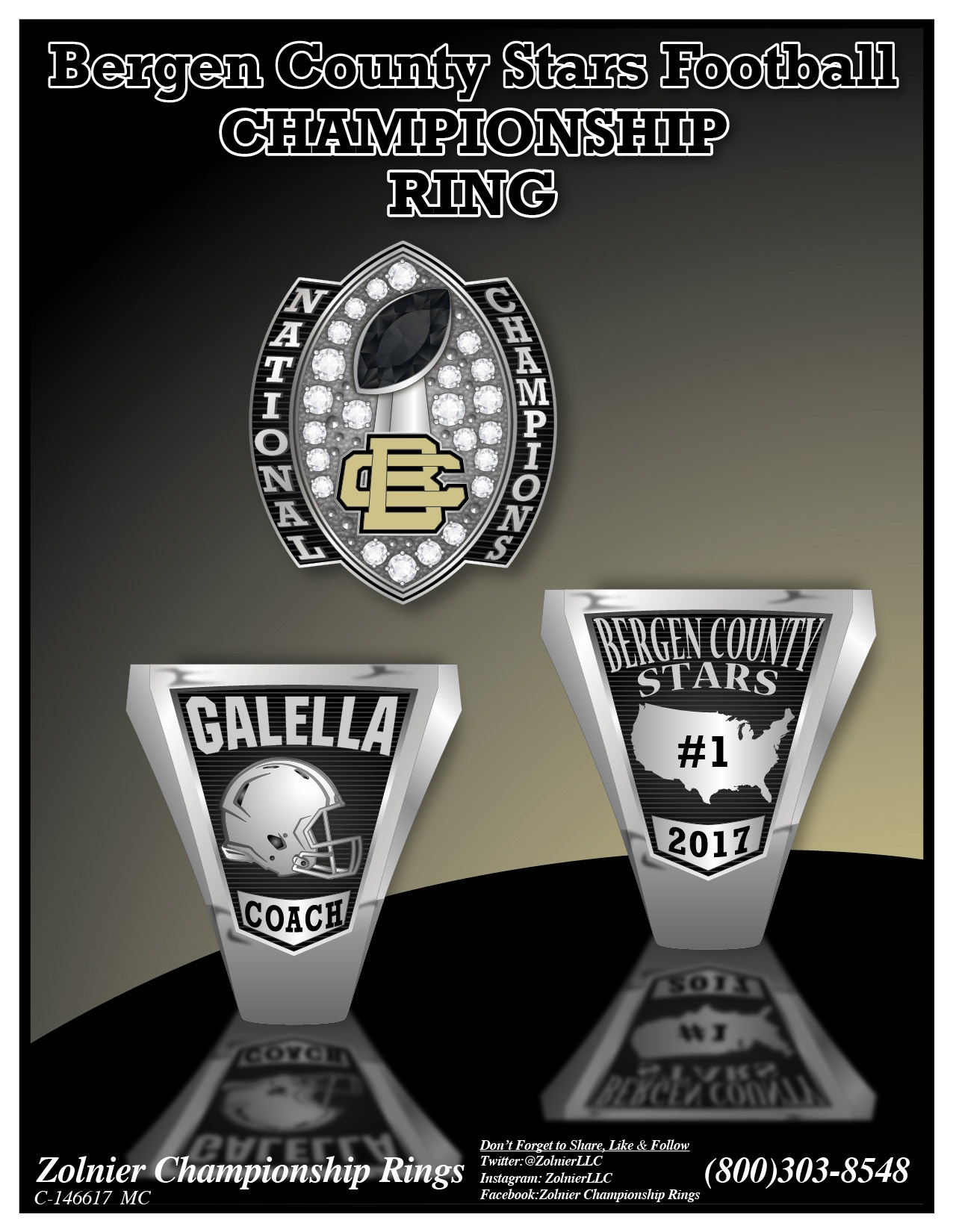 C-146617 Bergen County Stars Football Champ Ring