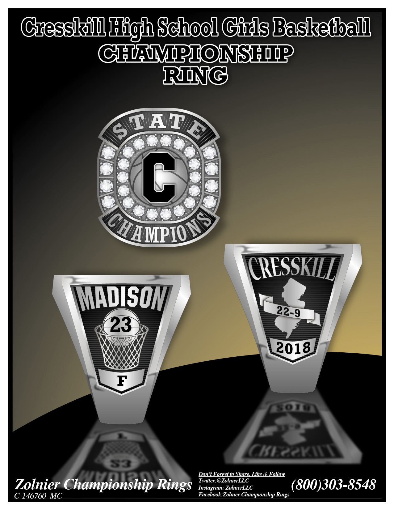 C-146760 Creskill HS Girls Basketball Champ Ring