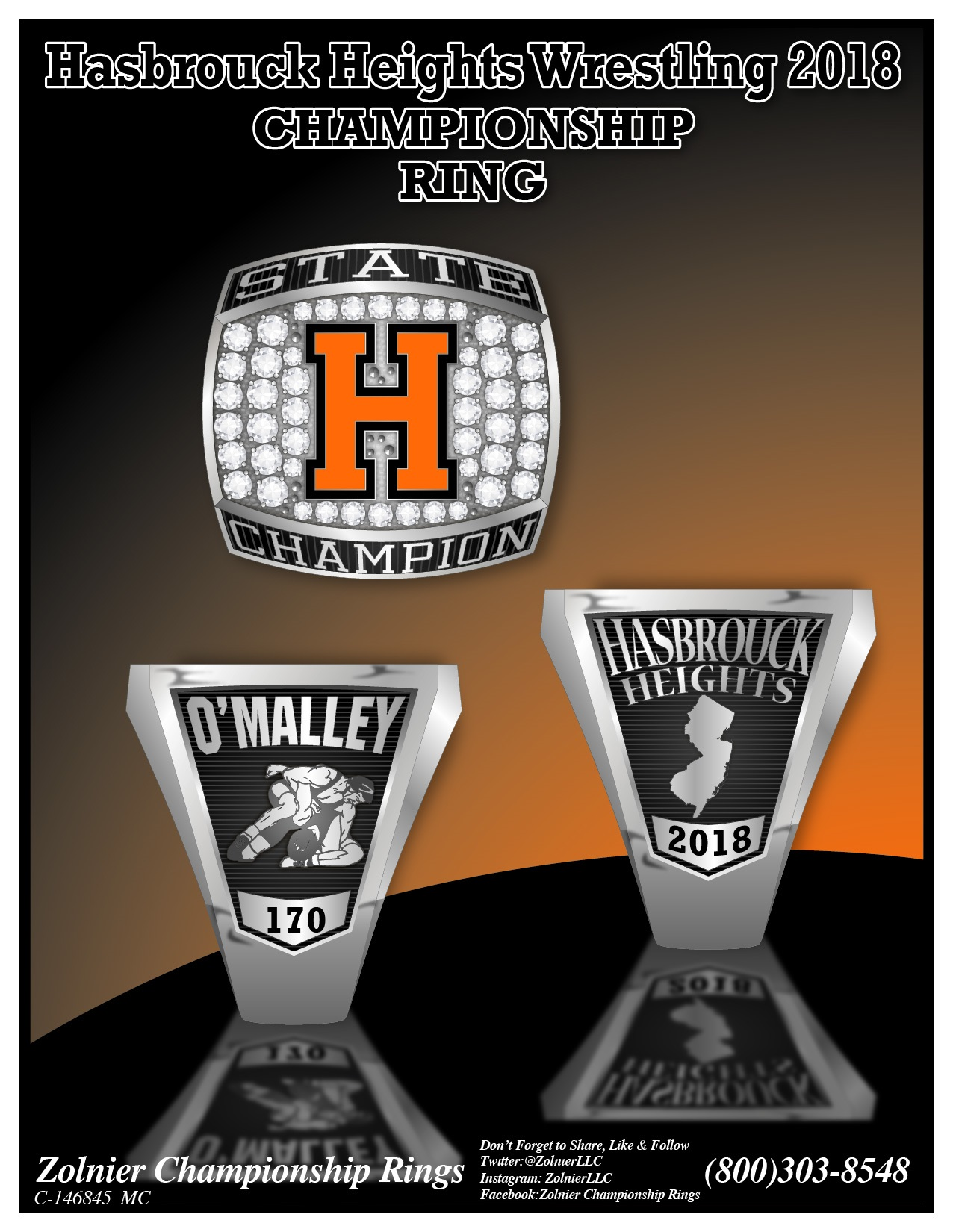 C-146845 Hasbrouck Heights Wrestling Champ Ring