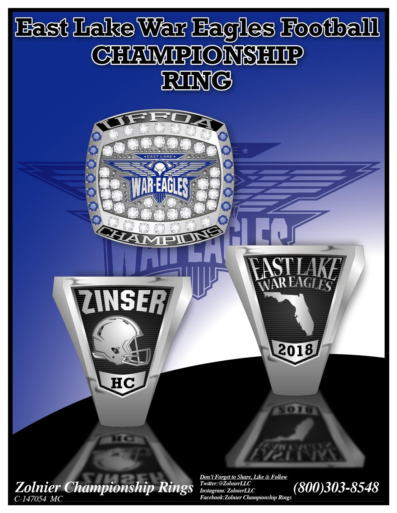 C-147054 East Lake War Eagles Football Champ Ring