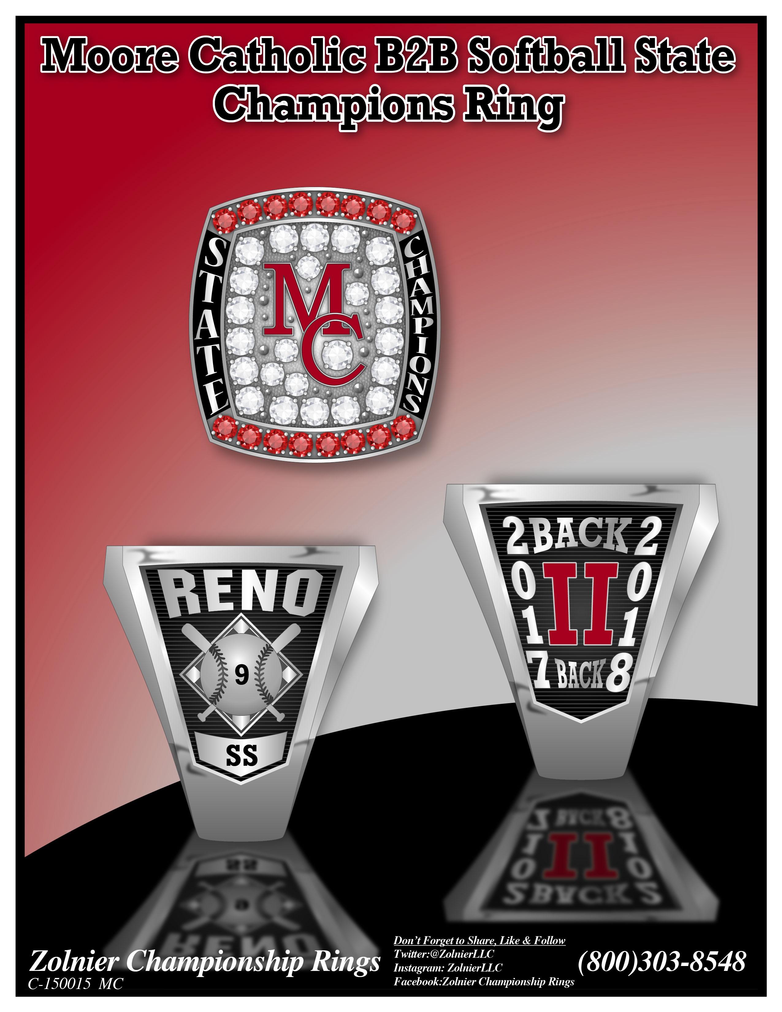 C-150015 Moore Catholic HS Softball B2B Champ Ring