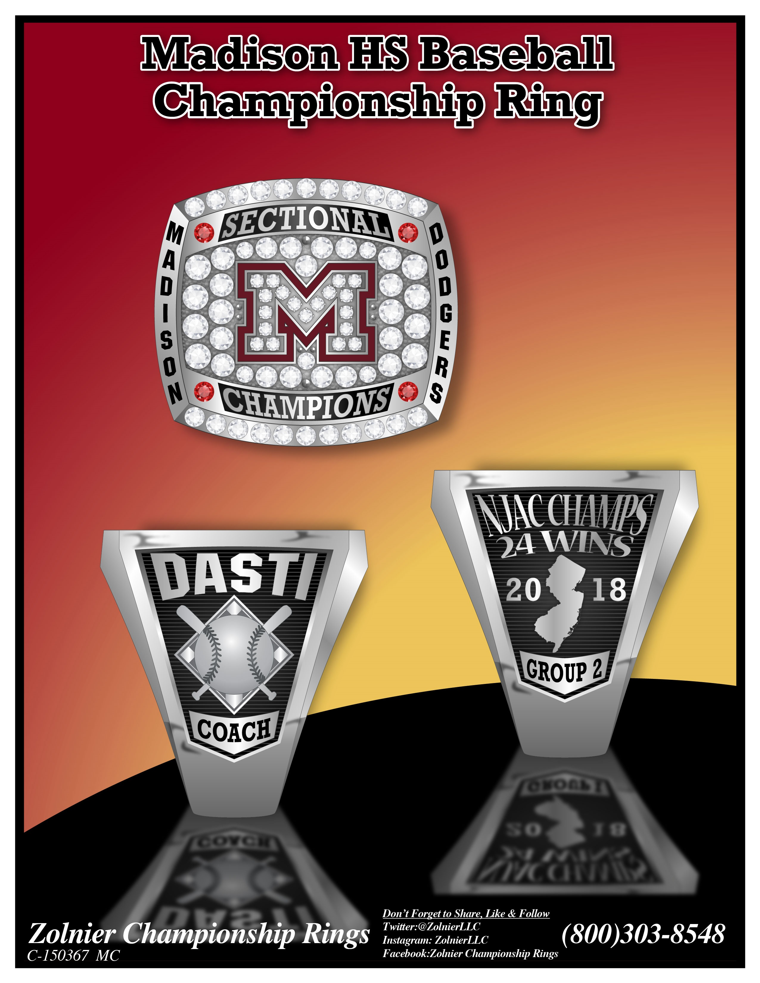 C-150367 Madison HS Baseball Champ Ring