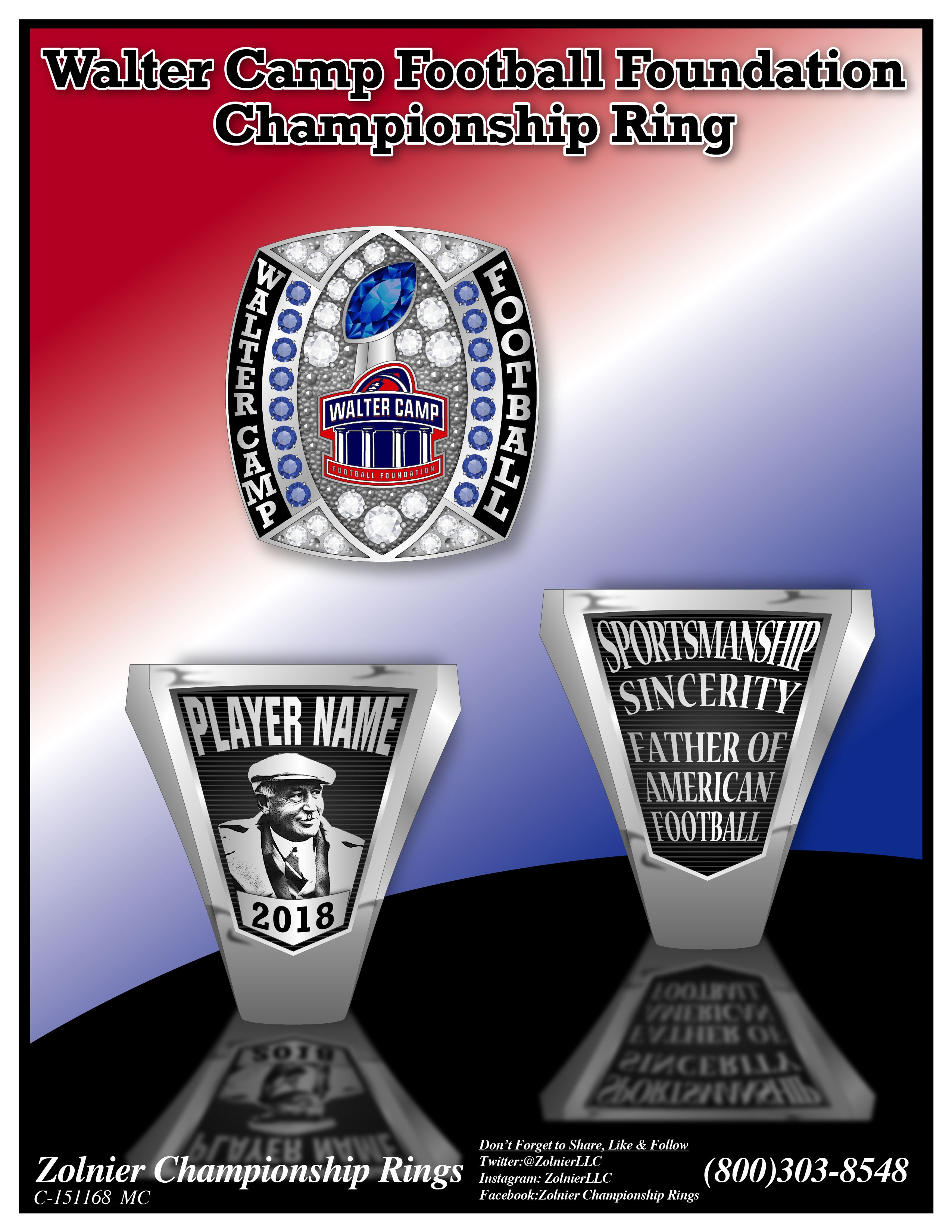 C-151168 Walter Camp Football Foundation Ring