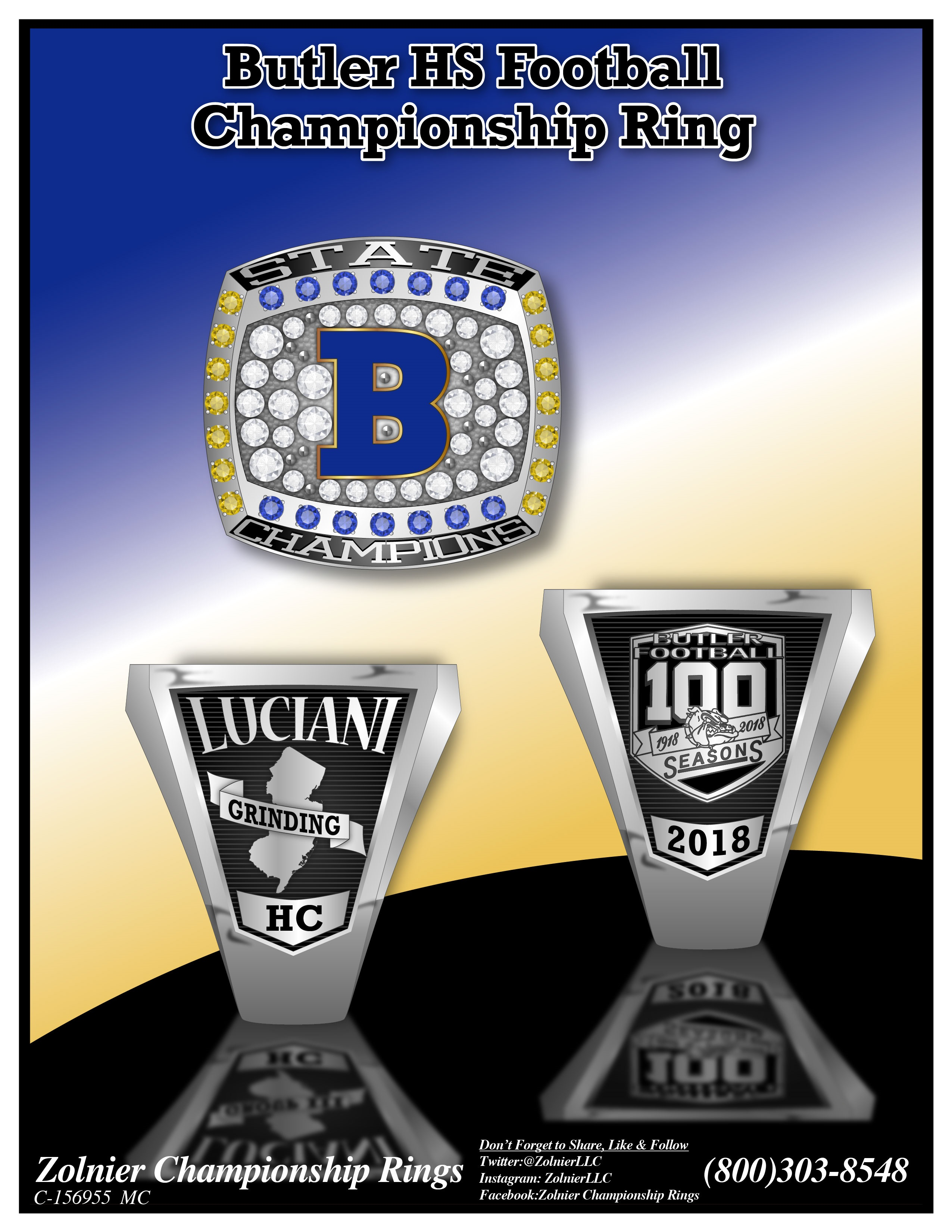 C-156955 Butler HS Football Champ Ring