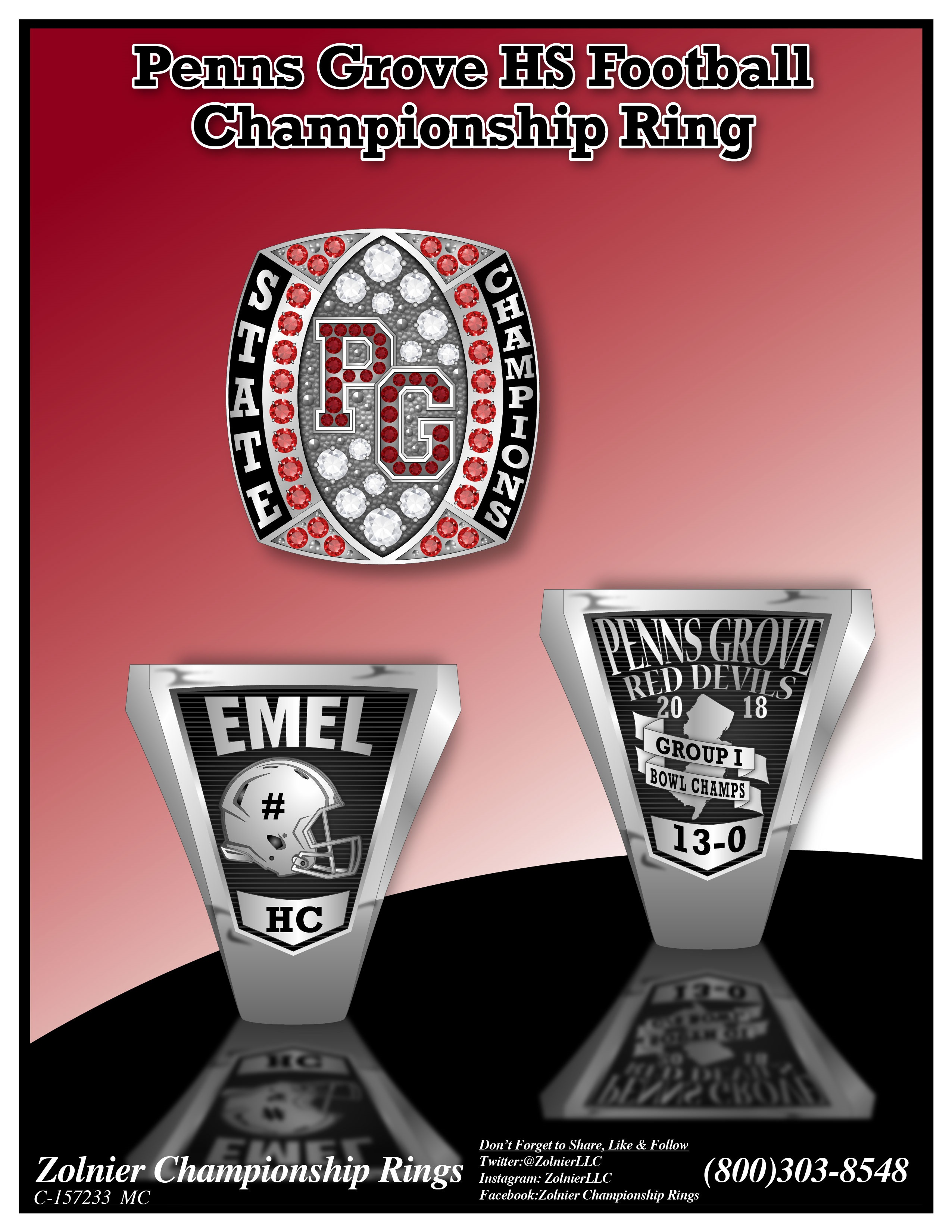 C-157233 Penns Grove HS Football Ring