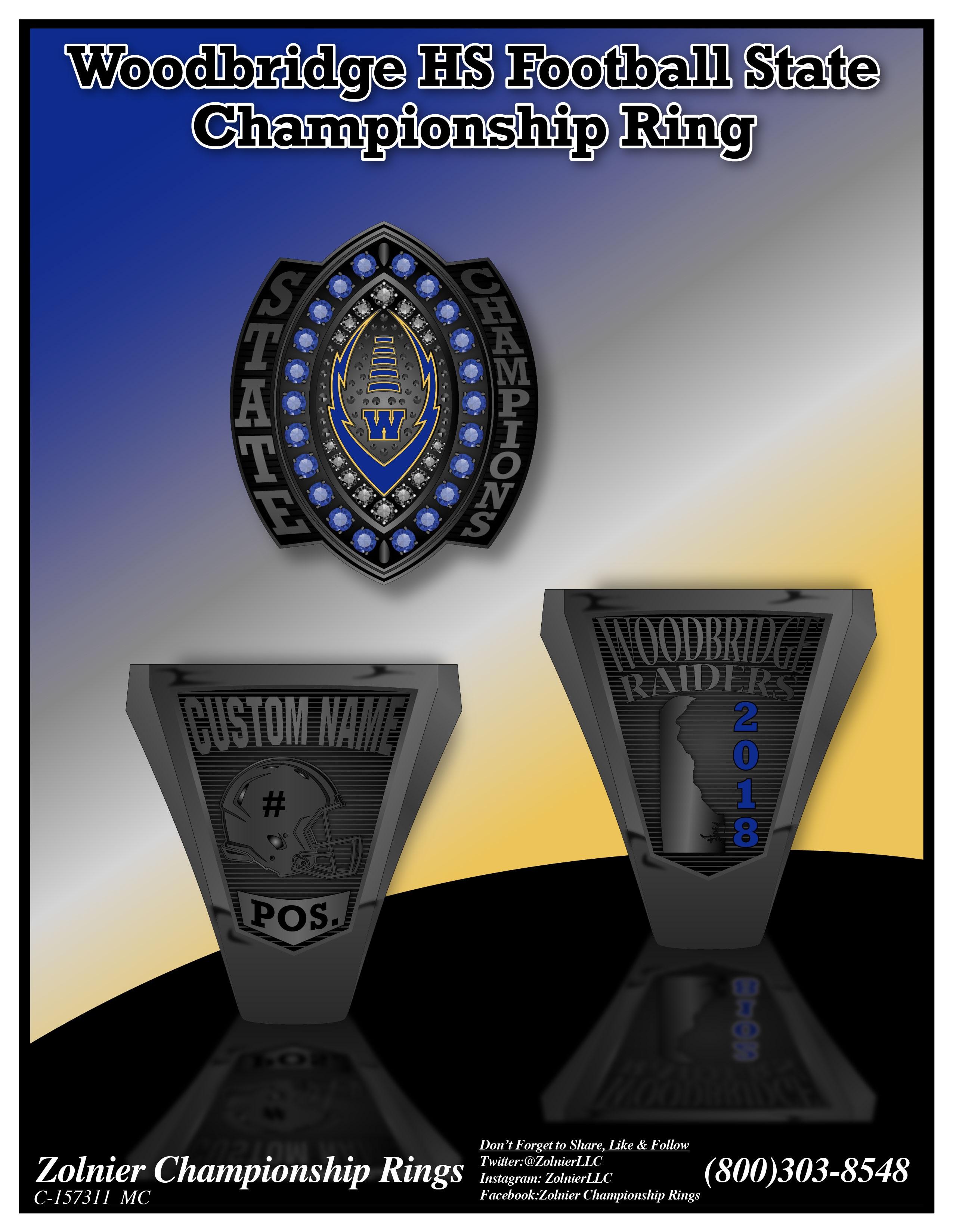 C-157311 Woodbridge HS Football Champ Ring 2