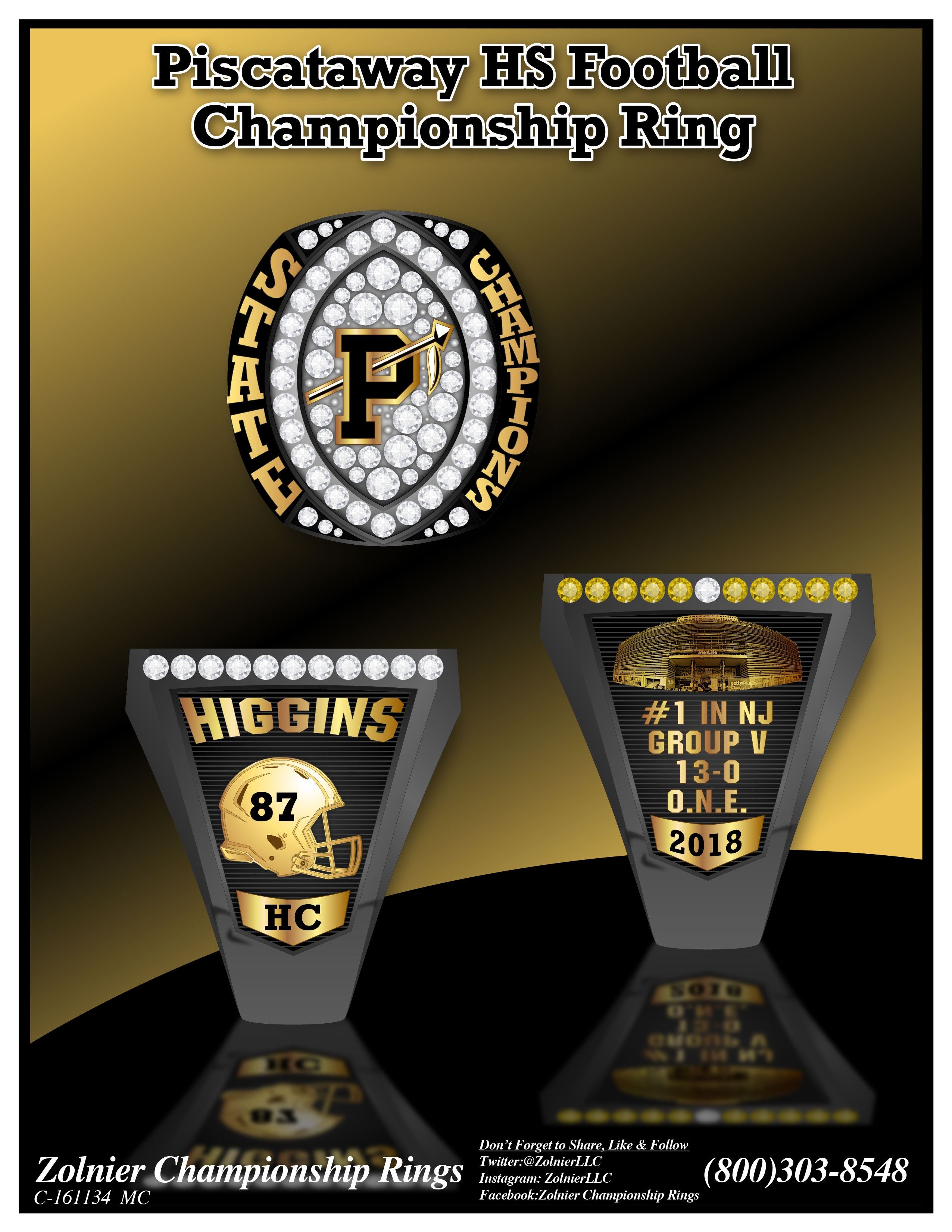 C-157568 Piscataway HS Football Champ Ring - Copy