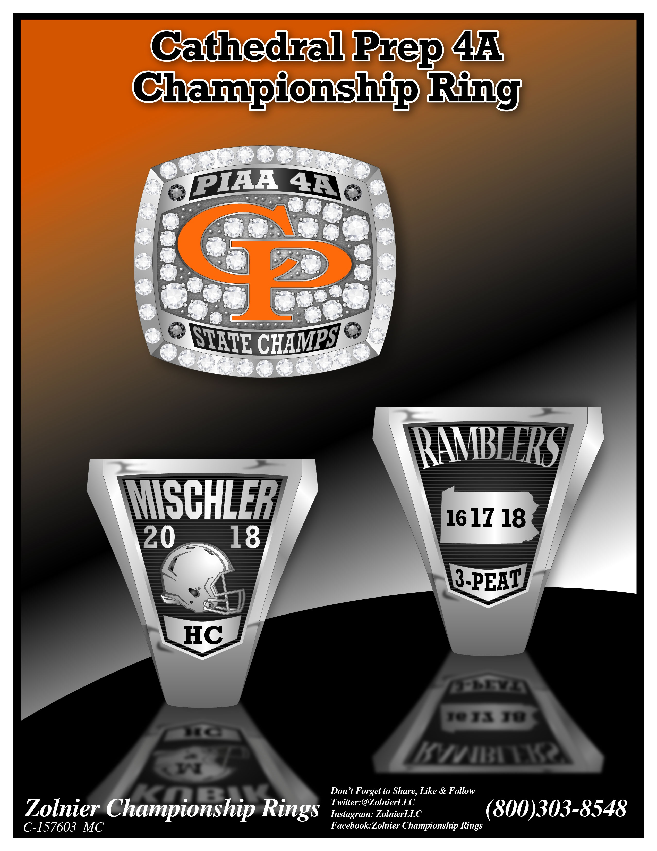 C-157603 Cathedral Prep Football Champ Ring
