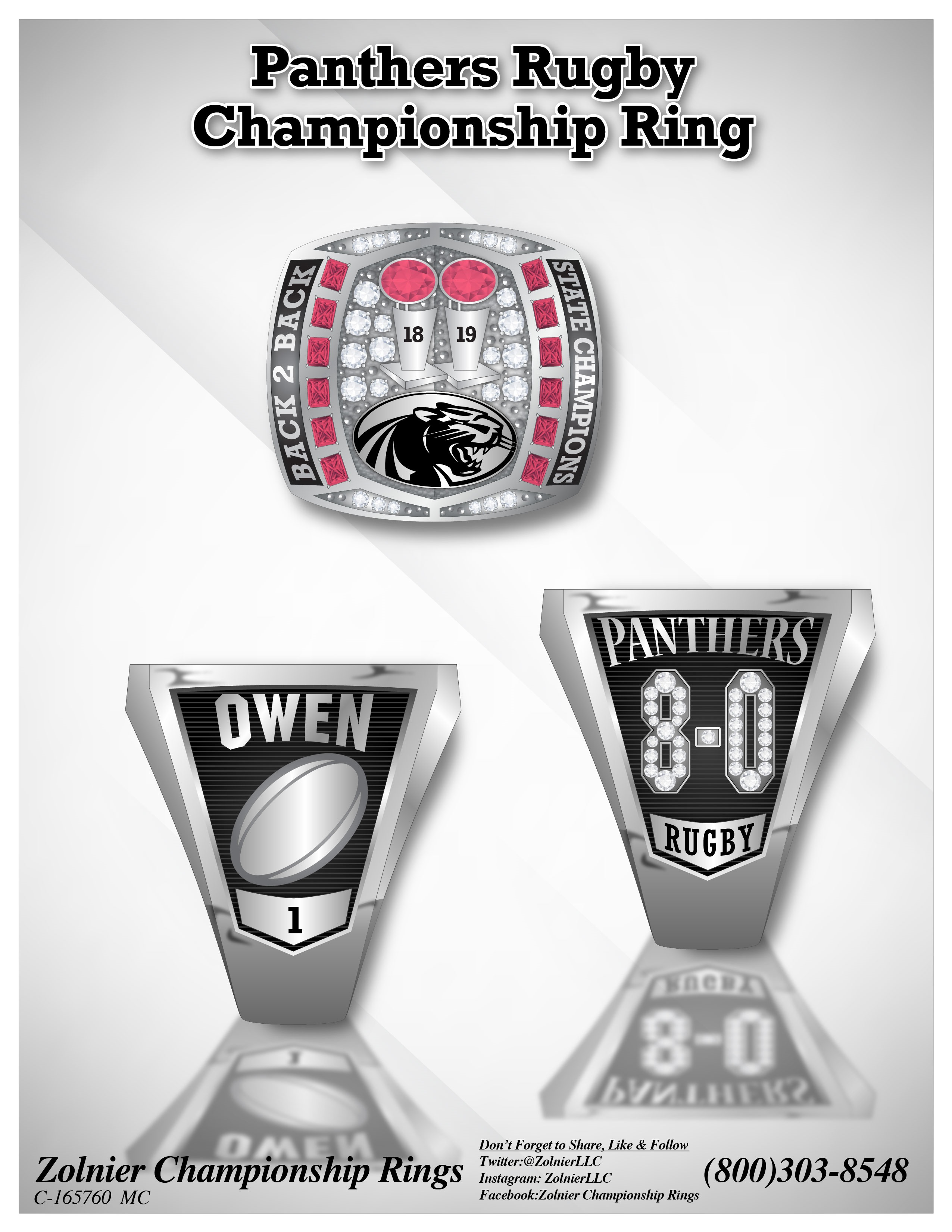 C-165760 Panthers Rugby Football Champ Ring