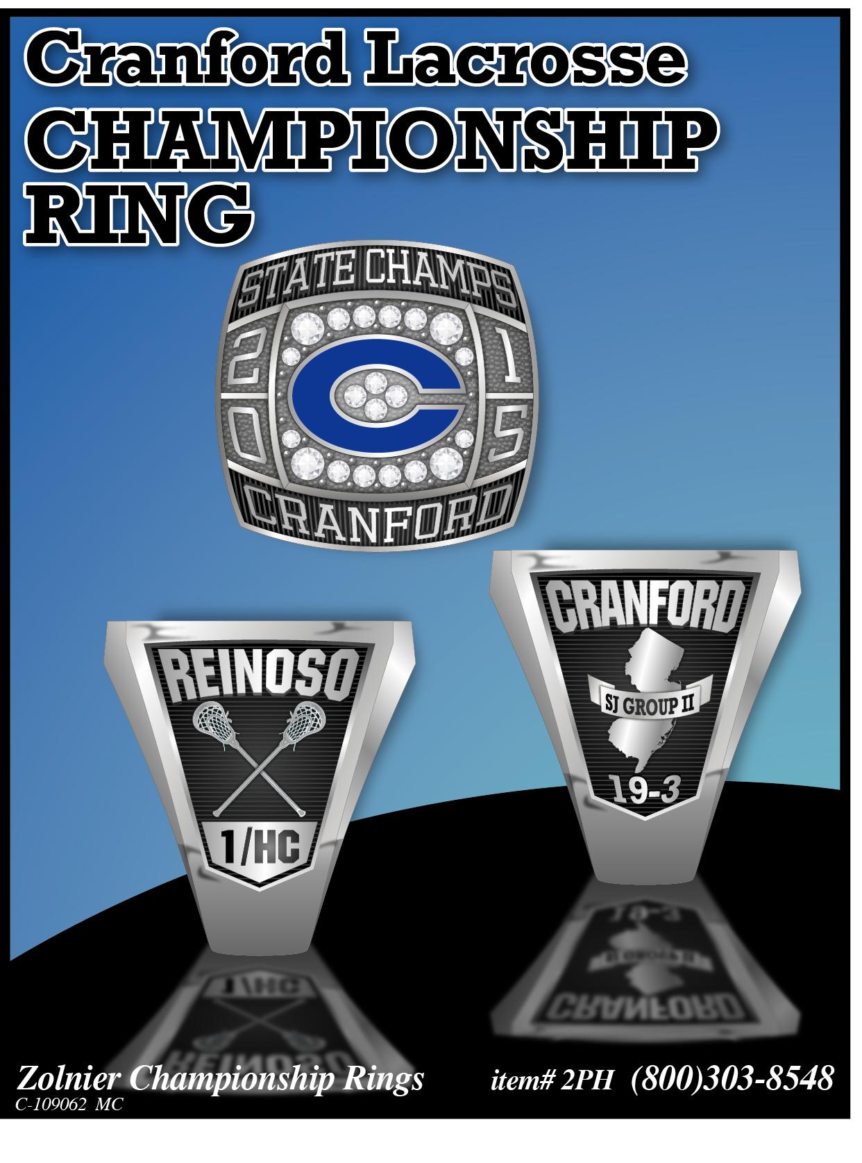 C-109062 ZOLNIER LLT Cranford Lacrosse 2 Championship Ring MC