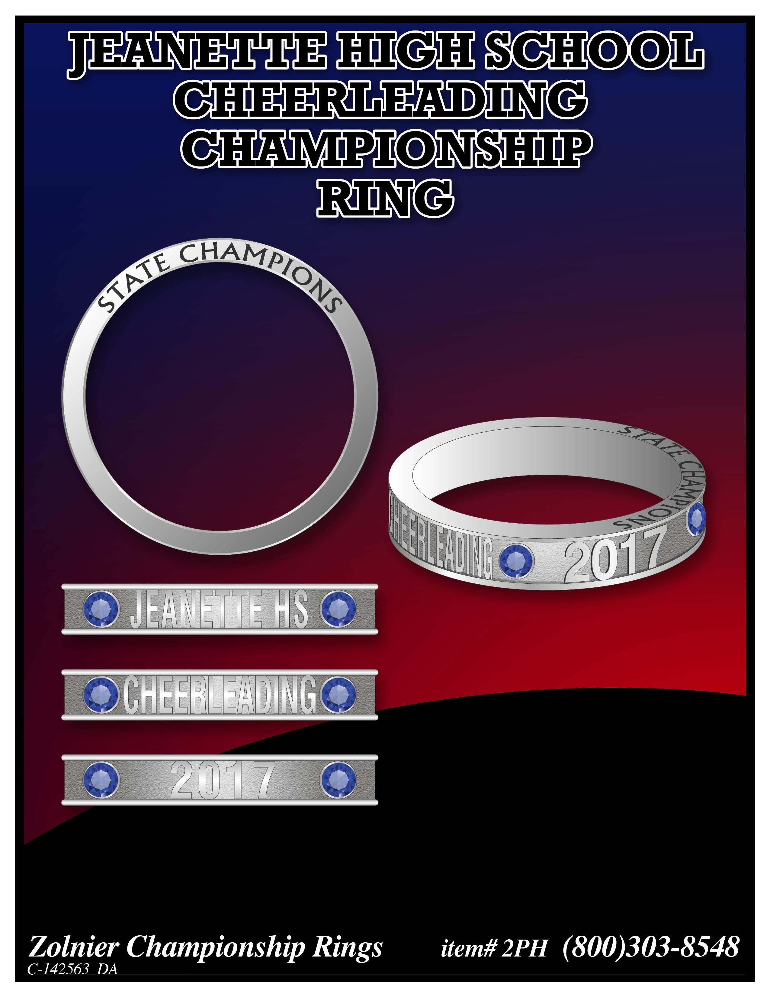 C-142563 Jeannette HS Cheer Champ Ring