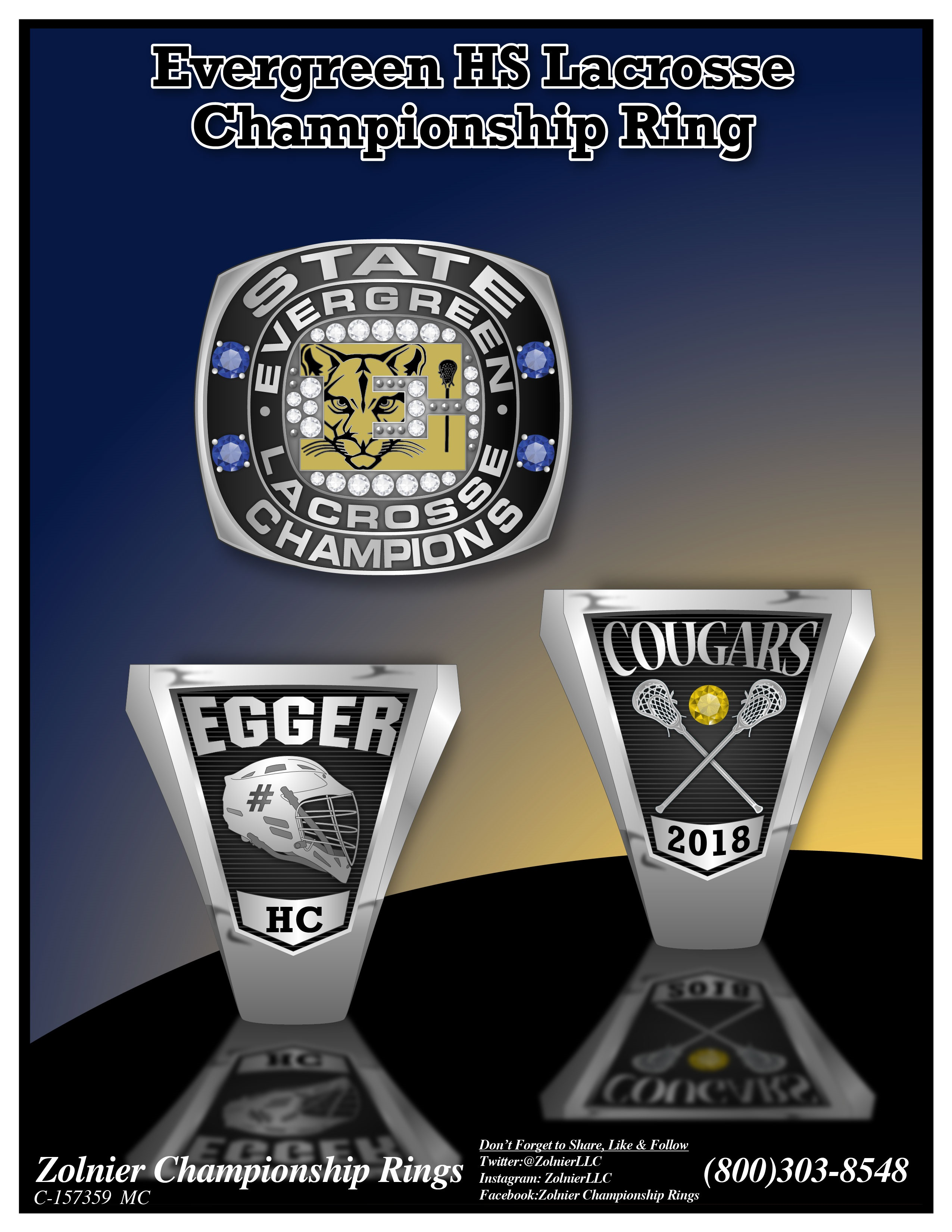 C-157359 Evergreen HS Boys Lacrosse Champ Ring