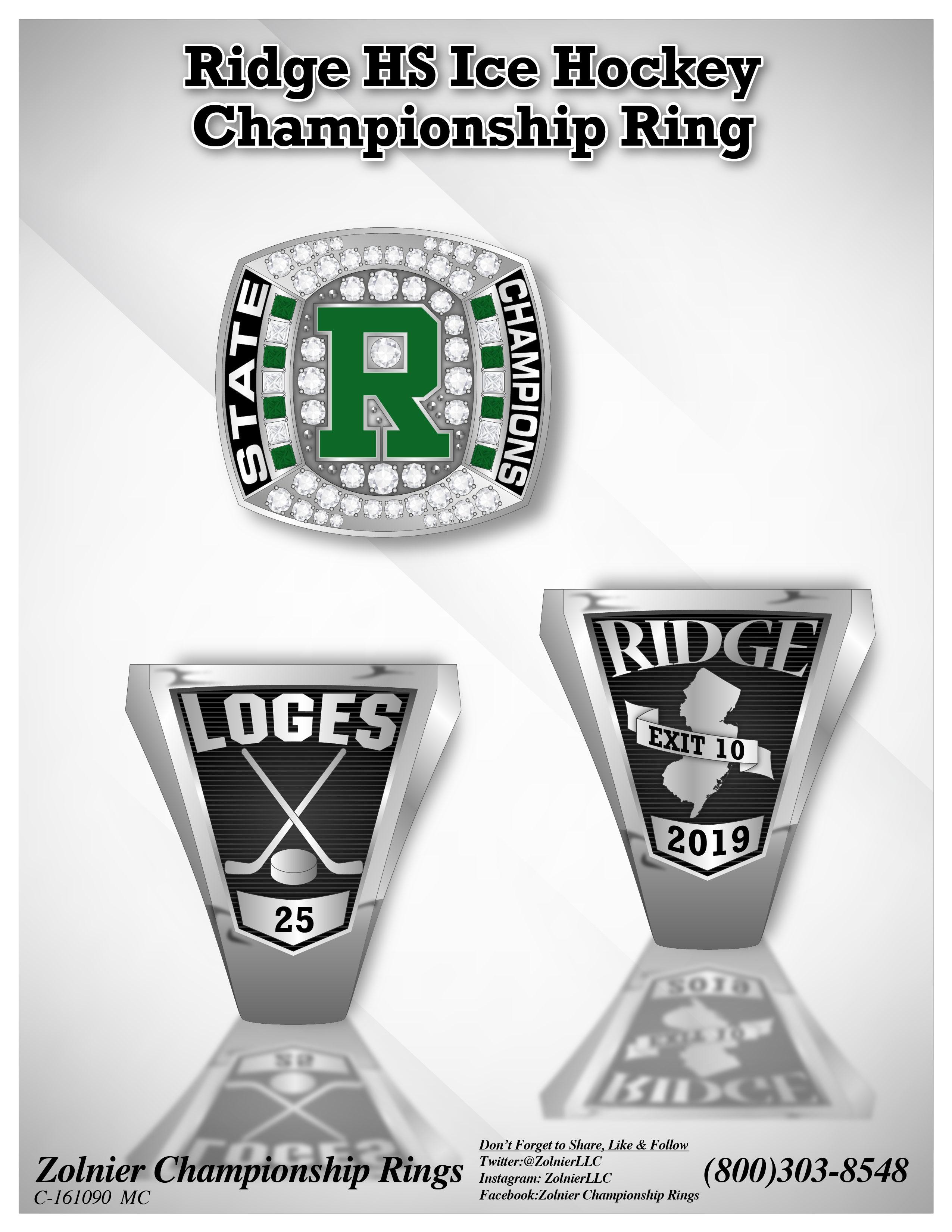 C-161090 Ridge HS Ice Hockey Champ Ring