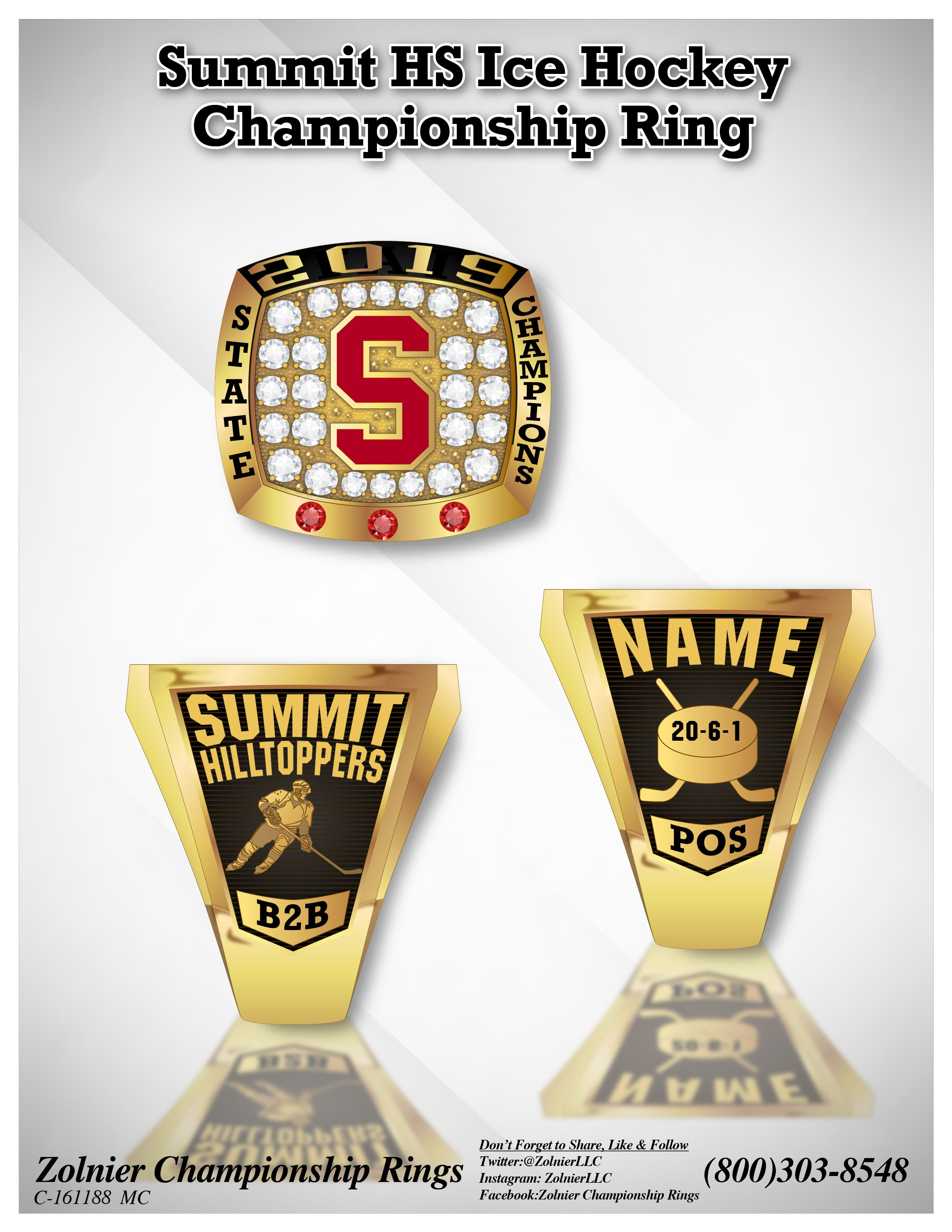 C-161188 Summit HS Ice Hocky Champ Ring