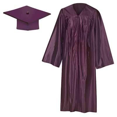 Maroon Shiny Cap & Gown